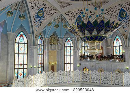 Kazan, Russia, Republic Of Tatarstan - December 31, 2017:the Kul Sharif Mosque Interior.