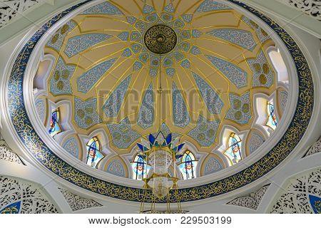 Kazan, Russia, Republic Of Tatarstan - December 31, 2017:the Kul Sharif Mosque Interior. Interior De