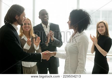 Grateful Boss Handshaking Promoting African Businesswoman Congratulating With Career Achievement Whi