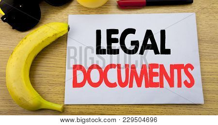 Legal Documents. Business Concept For Contract Document Written On Note Empty Paper, Wooden Backgrou