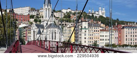 View Of Lyon With Red Footbridge On Saone River