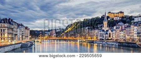 Saone River In Lyon City At Evening,  France