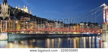 Famous View Of River Saone At Night, Lyon, France