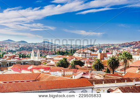 View On Cityscape Of Colonial Town Sucre In Bolivia