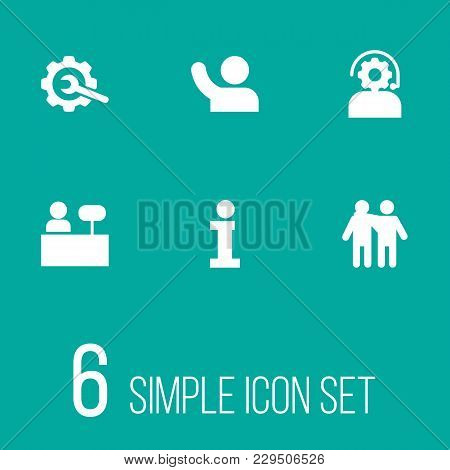 Set Of 6 Maintenance Icons Set. Collection Of Info, Friendship, Technical And Other Elements.