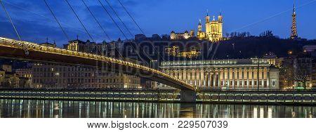 Beautiful View Of Saone River At Lyon By Night, France