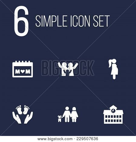 Set Of 6 People Icons Set. Collection Of Calendar, Lovers, School And Other Elements.