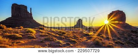 View Of Sunrise At Monument Valley, Usa