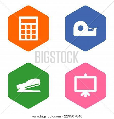 Set Of 4 Tools Icons Set. Collection Of Calculate, Whiteboard, Puncher And Other Elements.