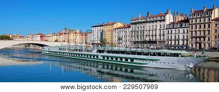 View Of Lyon City And Saone River, France