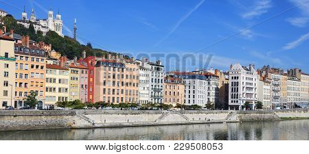Beautiful View Of Saone River In Lyon City, France