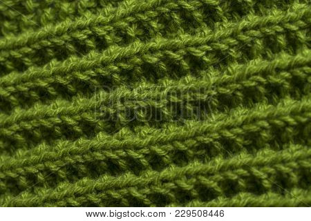 Green Knitting Fabric Texture Background Or Knitted Pattern Background