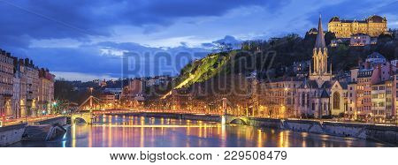 Famous View Of Lyon With Saone River At Night