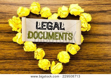 Word, Writing Legal Documents. Business Concept For Contract Document Written On Sticky Note Paper O
