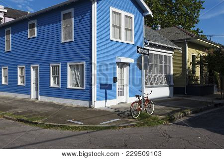 View Of The Facade Of A Colorful House In The Marigny Neighborhood In The City Of New Orleans, Louis