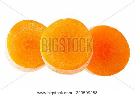 Isolated Carrot. Freshly Slices Carrots  Isolated On White Background With Clipping Path As Package