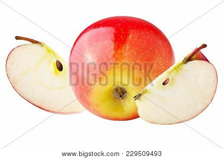Isolated Apples. One Whole And Slices Apple Isolated On White Background With Clipping Path As Packa