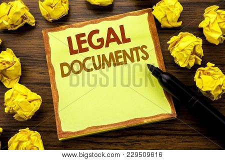 Hand Writing Text Caption Showing Legal Documents. Business Concept For Contract Document Written On