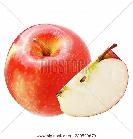 Isolated Apples. Fresh Apple Isolated On White Background With Clipping Path As Package Design Eleme