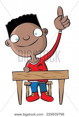 Cute Black School Boy Raise Hand In Class Vector Illustration