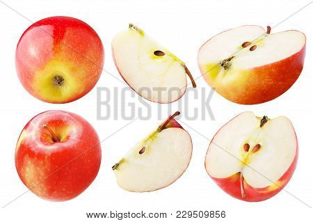 Isolated Apples. Set Of Freshly Apple Isolated On White Background With Clipping Path As Package Des