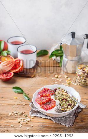 Healthy Morning Breakfast With Granola Yogurt Blood Oranges