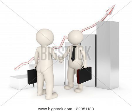 Deal - 3D Business People Shaking Hands - Graph