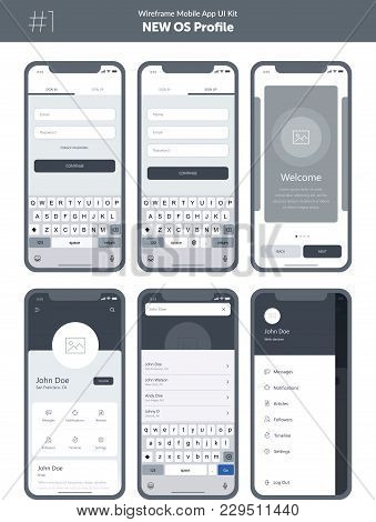 Wireframe Kit For Mobile Phone. Mobile App Ui, Ux Design. New Os Profile. Walkthrough, Welcome, Sign