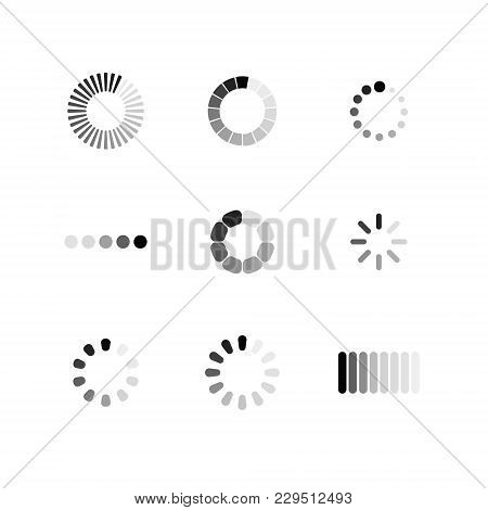Set Loading Icon. Download Sign. Collection Of Simple Web Download. Vector