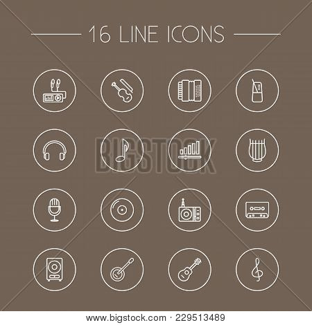 Set Of 16 Music Icons Line Style Set. Collection Of Audio Level, Record, Pace And Other Elements.