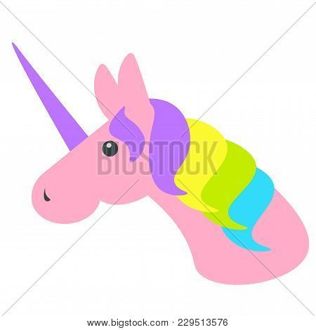 Unicorn Vector Isolated. Head Of A Pink Unicorn With Colorful Mane On A White Background. Simple Sty