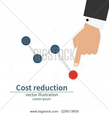 Cost Down Reduction Concept. Cost Down. Businessman With His Hand Lowers The Arrow Of The Graph. Vec