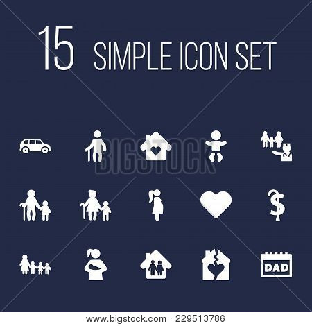 Set Of 15 Family Icons Set. Collection Of Divorce, Retirement, Parents And Other Elements.