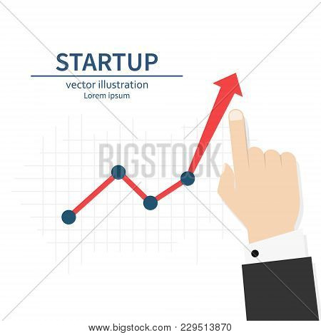 Startup. Diagram Up. Businessman Raises Hand Financial Chart. Vector Illustration Flat Design. Isola