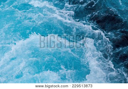 Sea Water Splash With Foamy Wave. Water Surface Texture. Tropical Islands Ferry Travel. Cruiseliner