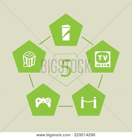 Set Of 5 Entertainment Icons Set. Collection Of Soft Drink, Popcorn, Tv Set And Other Elements.
