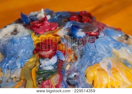 Colorful Candle Wax, Good Background And Afterimage