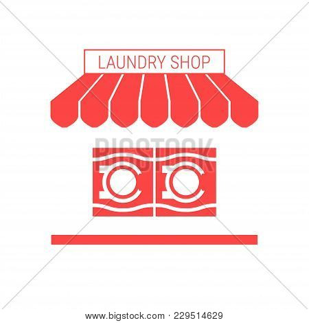 Laundry Shop, Laundry Service Single Flat Vector Icon. Striped Awning And Signboard. A Series Of Sho