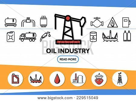 Oil Industry Line Icons Set With Drilling Rig Tanker Pipe Valve Fuel Gun Dispenser Derrick Canister