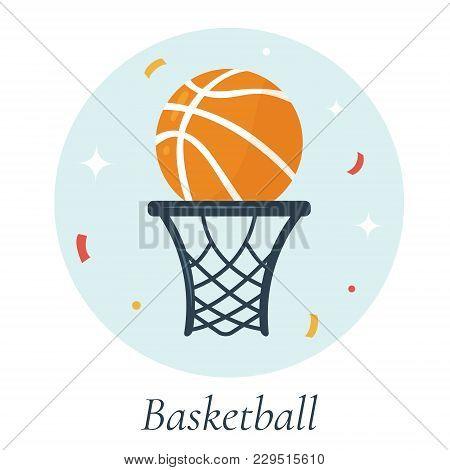 Vector Illustration Of Basketball Ball And Basket, Symbols Of Usa National Kind Of Sport