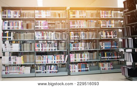 Round Bookshelf In Public Library Over Blur Libraries Natural Background, Bokeh Out Of Focus Book St