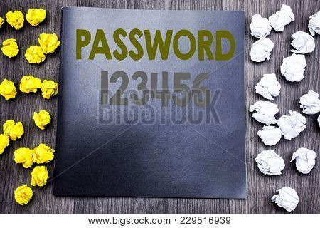 Hand Writing Text Caption Inspiration Showing Password 123456. Business Concept For Security Interne
