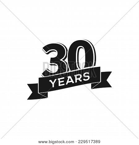 Vector 30 Years Anniversary Logotype. Isolated Black Logo 30th Jubilee On White Background