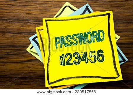 Conceptual Hand Writing Text Caption Inspiration Showing Password 123456. Business Concept For Secur