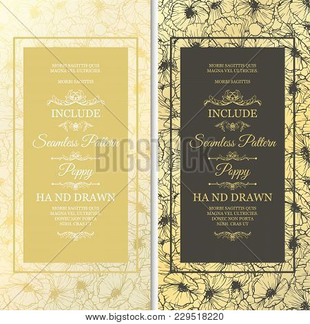 Isolated Wedding Cards With Hand Or Line Drawn Flowers As Seamless Pattern. Vintage, Retro Invitatio