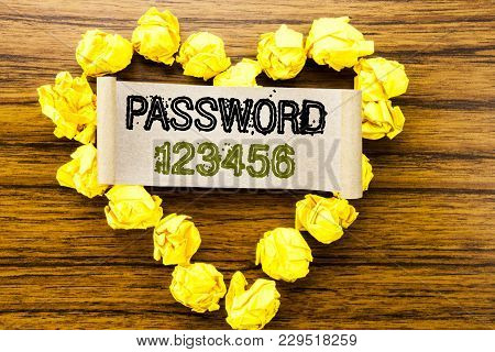 Word, Writing Password 123456. Business Concept For Security Internet Written On Sticky Note Paper O