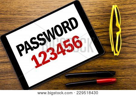 Writing Text Showing Password 123456. Business Concept For Security Internet Written Tablet Laptop,