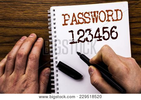 Handwritten Text Showing Word Password 123456. Business Concept For Security Internet Written Tablet