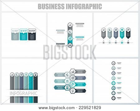 Abstract Infographics Number Options Template 3, 4, 5, 6, 7, 8. Vector Illustration. Can Be Used For