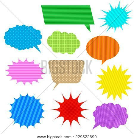 Comic Colorful Speech Bubbles Set With Halftone Dotted And Slanted Lines Effects. Vector Illustratio
